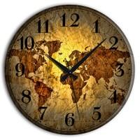 Frank Ray 60 cm MDF Wall Clock Dünya Harita Desen