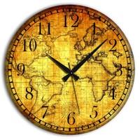 Frank Ray 60 cm MDF Wall Clock Harita Desen