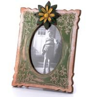 Porio Yeşil-Sarı Çiçek Detaylı Masa Çerçevesi 29x21