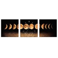 Arse Ayın Evreleri Parçalı Dekoratif Tablo Ve Saat -3 Adet 30 x 30 cm