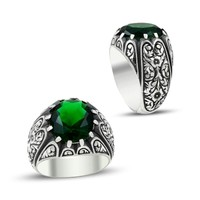 Anıyüzük Erzurum El İşi Yeşil Taşlı Gümüş Yüzük