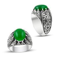 Anıyüzük Erzurum El İşi Yeşil Ateş Kehribar Gümüş Yüzük