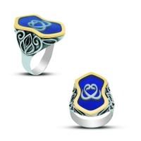 Anıyüzük Mavi Mineli Çift Vav İşlemeli Gümüş Yüzük