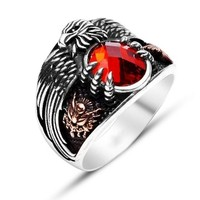 Anıyüzük Kartal Başlı Kırmızı Zirkon Taşlı Pençeli Osmanlı Yüzüğü