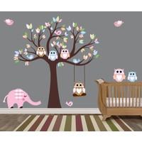 Besta Duvar Sticker Ağaç ve Baykuşlar