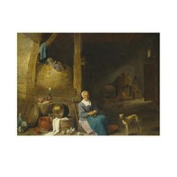 ARTİKEL Follower of David Teniers the Younger - An Old Woman Peeling Pears 50x70 cm KS-1472