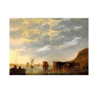 ARTİKEL Aelbert Cuyp - A Herdsman with Five Cows by a River 50x70 cm KS-1330