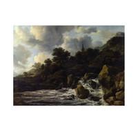 ARTİKEL Jacob Van Ruisdael - A Waterfall at the Foot of a Hill, near a Village 50x70 cm KS-1508