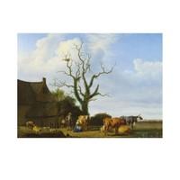 ARTİKEL Adriaen Van De Velde - A Farm with a Dead Tree 50x70 cm KS-1380