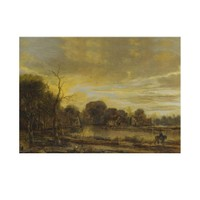 ARTİKEL Aert Van Der Neer - A River Landscape with a Villag 50x70 cm KS-1370
