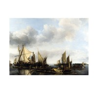 ARTİKEL Jan Van De Cappelle - A River Scene with a Large Ferry 50x70 cm KS-1318