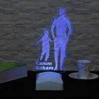 Dekorjinal Dekojinal Babalar Günü 3 Boyutlu Lamba BABA3D003