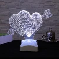 Dekorjinal 3 Boyutlu Çiftli kalp Lamba V23D086