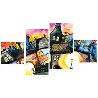 Tictac Design Çizgi Evler 4 Parça Kanvas Tablo 59