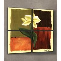ARTİKEL White Flower 4 Parça Kanvas Tablo 70x70 cm KS-148