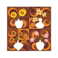 ARTİKEL Four Flowers 4 Parça Kanvas Tablo 70x70 cm KS-756
