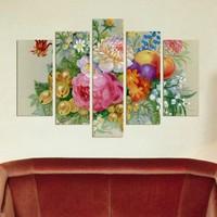 Dekorjinal Çiçekler 5 Parçalı Dekoratif Mdf Tablo -DEC054