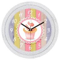 Cadran Dekoratif Vintage Duvar Saati Çatlak Desen Dantel Cupcake 1108-35