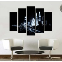 K Dekorasyon Siyah Beyaz 5 Parçalı Mdf Tablo KM5P1026
