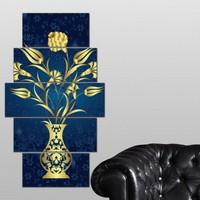 K Dekorasyon Osmanlı Lale Motifleri 5 Parçalı Mdf Tablo KM-5P 2475