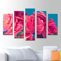 K Dekorasyon Pembe Çiçek 5 Parçalı Mdf Tablo KM5P1808