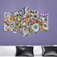 Dekorjinal Deniz Kabukları 5 Parçalı Dekoratif Mdf Tablo -DEC055