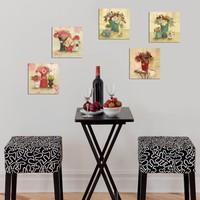 Dekorjinal 5 Parçalı Dekoratif Mdf Tablo Renkli Çiçekler -UTB125