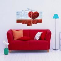 Dekorjinal Love 5 Parçalı Dekoratif Tablo Kalp D5TP84