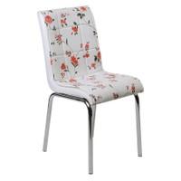 Kristal Masa 4 lü Monopetli Sandalye - Kırmızı Çiçekli
