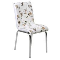 Kristal Masa 4 lü Monopetli Sandalye - Kahve Çiçekli