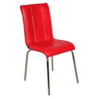 Kristal Masa 4 lü Monopetli Sandalye - Düz Kırmızı
