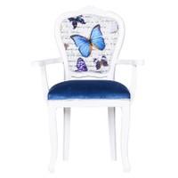 3A Mobilya Butterfly Oymalı Kollu Sandalye - Mavi Desen