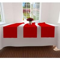 Misya Home Masa Örtüsü ve Düz Kırmızı Runner Set - 160x200 cm
