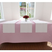 Misya Home Pembe Puantiyeli Masa Örtüsü ve Beyaz Runner Set - 160x220 cm