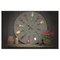 Evlina Home Ahşap Bahçe Aletleri Tasarımlı Duvar Saati