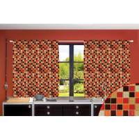 Orange Venue Orange Venue Mutfak Mozaiği Desenli Çift Kanatlı 3D Baskılı Fon Perde | 145x180 cm
