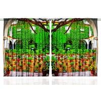 Orange Venue Orange Venue Veranda Desenli Çift Kanatlı 3D Baskılı Fon Perde | 145x180 cm