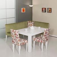 Mobetto Nilüfer Mutfak Köşe Takımı Yeşil ( Köşe + Masa + 2 Adet Sandalye + Masa )