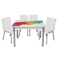 Kristal Masa Beyaz Monopetli 4 Sandalye ve Gökkuşağı Yandan Açılır Cam Masa