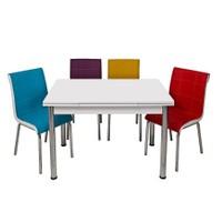 Kristal Masa Gökkuşağı Monopetli 6 Sandalye ve 70x110 Yandan Açılır Suntalem Beyaz Masa