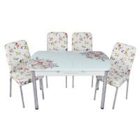 Mavi Mobilya Mutfak Cam Masa Takımı Otomatik Açılır Beyaz Buket Desen (6 Suni Deri Sandalyeli)