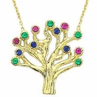 Bilezikhane Soy Ağacı Kolye 2,18 Gram Renkli 14 Ayar Altın