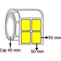 Sarı Renkli 50 Mm X 50 Mm Yy 2'Li Barkod Etiketi Çap 40 Mm ( 6 Rulo )