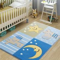 Confetti Sleepy Mavi Oymalı Çocuk Halısı - 100 x 150 cm