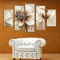 Casa De Arte 5 Parça Kanvas Tablo Kahverengi Çiçekler