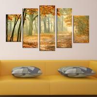 Casa De Arte 5 Parça Kanvas Tablo Sonbahar Orman
