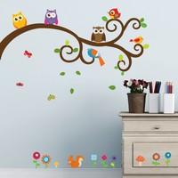 Dekorjinal Ağaçta Baykuşlar Çocuk Odası Duvar Stickerı
