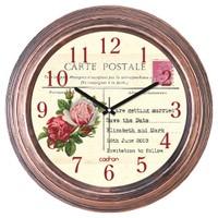 Cadran Dekoratif Vintage Duvar Saati Bakır Post Card 1108-37