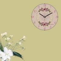 Cadran Retro Vintage Bombeli Cam Duvar Saati Floral Çiçekler 140-78