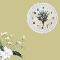 Cadran Dekoratif Vintage Çatlak Desen Duvar Saati Retro Mavi Çiçekler 185